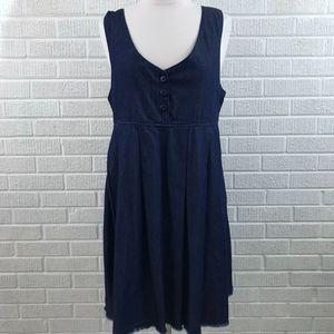 NSF Button Front Denim Jumper Dress Raw Hem EUC S